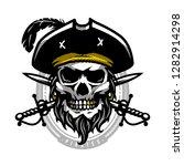 pirate skull in vintage style.... | Shutterstock .eps vector #1282914298