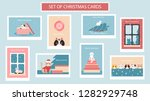 set of cute christmas cards... | Shutterstock .eps vector #1282929748