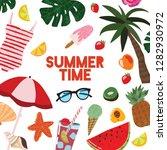 cartoon summertime traveling... | Shutterstock .eps vector #1282930972