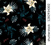 tropical lily flowers and gray... | Shutterstock . vector #1282934302