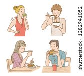 people eating different meals.... | Shutterstock .eps vector #1282941052