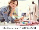 fashion designer woman working... | Shutterstock . vector #1282947508
