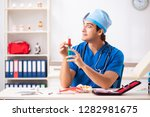mad doctor working in the...   Shutterstock . vector #1282981675