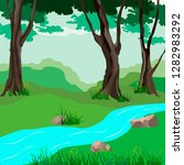 forest landscape with river ... | Shutterstock .eps vector #1282983292