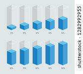blue color isometric chart bars ...