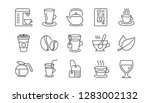 coffee and tea line icons.... | Shutterstock .eps vector #1283002132