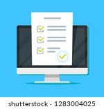 online form survey on pc... | Shutterstock .eps vector #1283004025