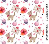 watercolor seamless pattern for ... | Shutterstock . vector #1283012455