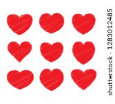 red heart design icon flat.... | Shutterstock .eps vector #1283012485
