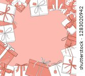 frame with gift boxes of white... | Shutterstock .eps vector #1283020942