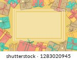frame with gift boxes. vector... | Shutterstock .eps vector #1283020945