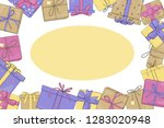 frame with gift boxes. vector... | Shutterstock .eps vector #1283020948