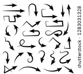 black arrows. set of bent icons.... | Shutterstock .eps vector #1283031328