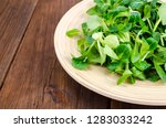 mix of corn salad and spinach...   Shutterstock . vector #1283033242