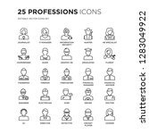 set of 25 professions linear... | Shutterstock .eps vector #1283049922