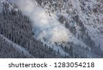 Small photo of Avalanche in Austria. Chaos because of heavy snow falls.