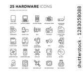 set of 25 hardware linear icons ... | Shutterstock .eps vector #1283058088