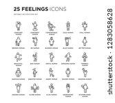 set of 25 feelings linear icons ... | Shutterstock .eps vector #1283058628