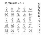 set of 25 feelings linear icons ... | Shutterstock .eps vector #1283058658