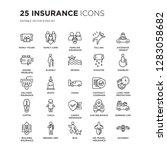 set of 25 insurance linear... | Shutterstock .eps vector #1283058682