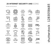 set of 25 internet security and ... | Shutterstock .eps vector #1283058685