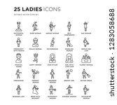 set of 25 ladies linear icons... | Shutterstock .eps vector #1283058688