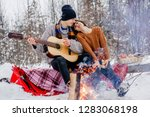 young hipster couple in love... | Shutterstock . vector #1283068198