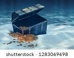 open treasure chest with gold... | Shutterstock . vector #1283069698