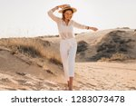 stylish happy beautiful smiling ... | Shutterstock . vector #1283073478
