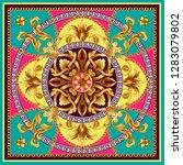 design scarf with golden... | Shutterstock .eps vector #1283079802