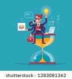 happy handsome office worker... | Shutterstock .eps vector #1283081362