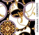 seamless pattern with golden... | Shutterstock .eps vector #1283082595