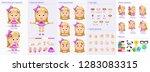 little girl character puppet... | Shutterstock .eps vector #1283083315