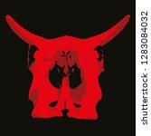 cow skull back view. vector... | Shutterstock .eps vector #1283084032