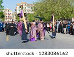 Small photo of CORFU, GREECE - APRIL 7, 2018: Epitaph and litany of St. Spyridon with the accompaniment of philharmonics on Holy Saturday.