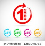 one hour arrow icon set | Shutterstock .eps vector #1283090788