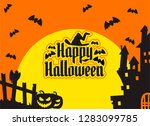 happy halloween pumpkin... | Shutterstock .eps vector #1283099785
