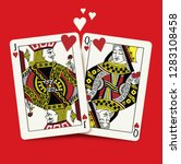 queen and king of hearts... | Shutterstock .eps vector #1283108458