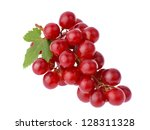 Red Grape With Leaf Isolated O...