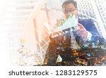 double exposure city background.... | Shutterstock . vector #1283129575
