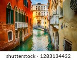 beautiful view on canal with... | Shutterstock . vector #1283134432