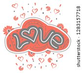 love drawn letters with trendy...   Shutterstock .eps vector #1283157718