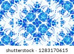 blue painted flowers in russian ... | Shutterstock .eps vector #1283170615
