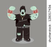 heavy metal rock character | Shutterstock .eps vector #128317436