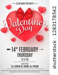 valentine's day party flyer. 3d ... | Shutterstock .eps vector #1283178562