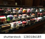 beautiful cakes on display at a ... | Shutterstock . vector #1283186185