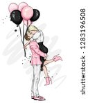 beautiful couple with balloons. ... | Shutterstock .eps vector #1283196508