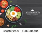 bibimbap in the bowl on black... | Shutterstock .eps vector #1283206405