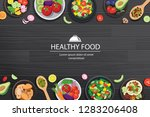 healthy food with ingredients... | Shutterstock .eps vector #1283206408