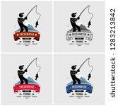 fishing logo design. fisherman... | Shutterstock .eps vector #1283213842